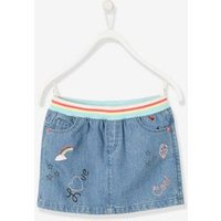 Denim Skirt with Iridescent Graffiti for Girls blue dark wasched