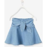 Denim Skirt with Tie Belt for Girls blue dark wasched