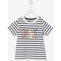 Short-Sleeved T-Shirt with Message for Baby Boys blue dark striped