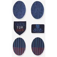 Pack of 6 Iron-On Patches for Boys blue dark solid with design