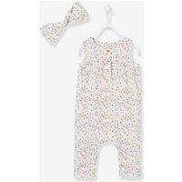 2-Piece Set with Flowers for Baby Girls white light all over printed