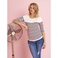 Three-Tone Navy-Style Top for Maternity white light striped