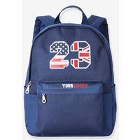 Two-Tone Backpack for Boys blue bright solid with design