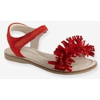 Touch-Fastening Leather Sandals for Girls red bright solid