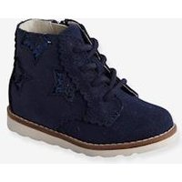 Leather Lace-up Boots for Baby Girls blue dark solid with design