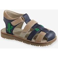 Touch Fastening Leather Sandals for Boys beige light two color/multicol
