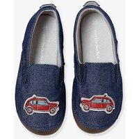 Boys Canvas Slippers blue medium solid with design