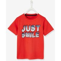 T-Shirt for Boys, just smile Inscription red dark solid