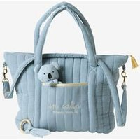 Changing Bag, Feather blue medium solid with design
