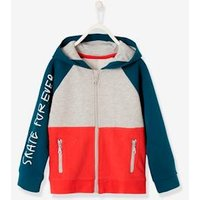 Colour Block Jacket with Zip for Boys green bright solid with desig