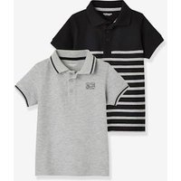 Pack of 2 Piqué Knit Polo Shirts for Boys blue/multi