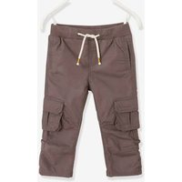 Cropped Cargo Trousers for Boys, Raise up to Bermuda Shorts green dark solid
