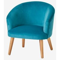 Velour Armchair for Children green medium solid