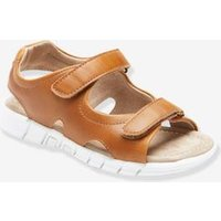 Leather Sandals for Boys blue dark solid
