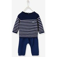 Newborn Baby Ensemble, Striped Pullover and Trousers, Little Sailor blue dark striped