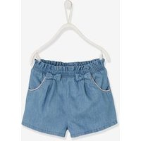 Denim Shorts with Pretty Bows, for Girls blue light wasched