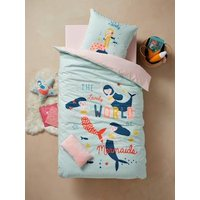 Childrens Duvet Cover + Pillowcase Set, PRETTY MERMAIDS blue light solid with design