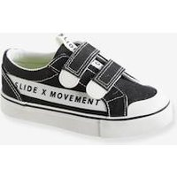 Two-tone Trainers with Touch Fastenings black dark solid with design