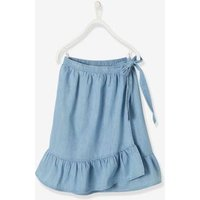 Envelope-Type Skirt in Light Denim, for Girls blue light wasched