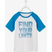 Sports T-Shirt for Boys, Inscription in Relief blue dark solid with design