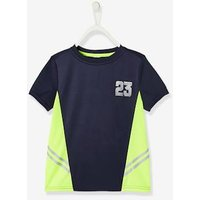 Sports T-Shirt for Boys, in Techno Fabric blue dark solid with design