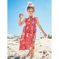 Long Dress with Flower Print, for Girls blue dark all over printed