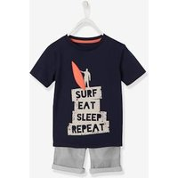 T-Shirt + Bermuda Shorts Outfit with Surf Motif, for Boys blue dark solid with design