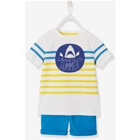 Striped T-Shirt and Shorts Outfit for Boys blue medium solid with design