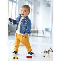 Denim Jacket with Patches for Baby Boys blue dark wasched