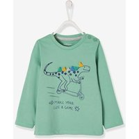T-Shirt for Baby Boys, with Printed Dinosaur Motif in Relief green medium solid with desig