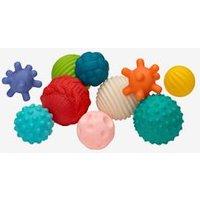 Set of 10 Sensory Balls, by INFANTINO blue medium solid with design