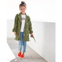 Showerproof Trench Coat with Ruffles at the Cuffs for Girls green dark solid