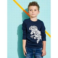 Long-Sleeved Dinosaur T-Shirt for Boys blue dark solid with design