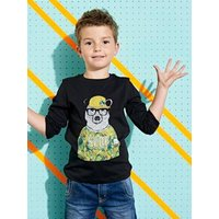 Long-Sleeved T-Shirt with Cute Bear Motif, for Boys black dark solid with design
