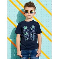 T-Shirt with Skateboard Motif in Relief for Boys blue dark solid with design