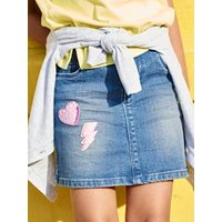 Denim Skirt with Sequinned Patches, for Girls blue dark wasched