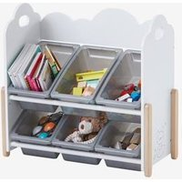 VERTBAUDET Storage Unit with Removable Boxes, Nuage Blanc white light solid Storage Chests
