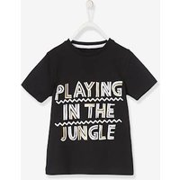 T-Shirt for Boys with Stylish Inscription black dark solid with design