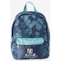 Backpack with Exotic Motif blue medium solid with design