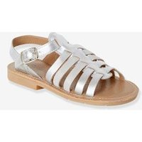 Leather Sandals for Girls brown medium solid
