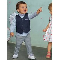 Baby Boys Cardigan, Shirt, Bowtie and Trousers Outfit Set ink/grey/light blue