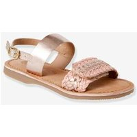 Braided Leather Sandals for Girls white light solid with design