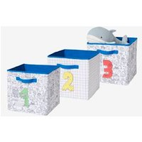 Pack of 3 Storage Boxes, 1-2-3 blue medium solid