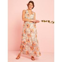 Long Maternity Dress, Floral Print white light all over printed