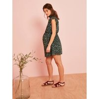 Maternity Dress in Printed Voile green dark all over printed