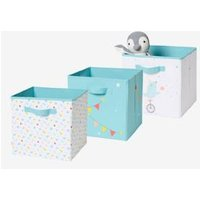 Pack of 3 Storage Boxes, Circus green medium solid