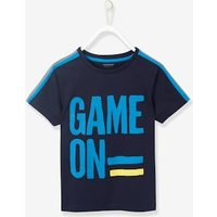 Sports T-Shirt for Boys with Reflective Strips blue dark solid with design