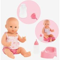 Emma Drink & Wet Bath Baby Doll, by Corolle pink medium solid with desig