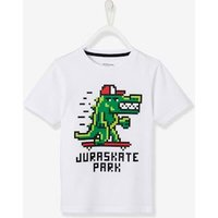 T-shirt with Dinosaur Motif for Boys white light solid with design