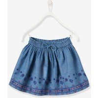 Embroidered Skirt in Lightweight Denim for Girls blue dark wasched